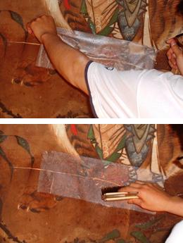 壁画修復 破れ止め repair